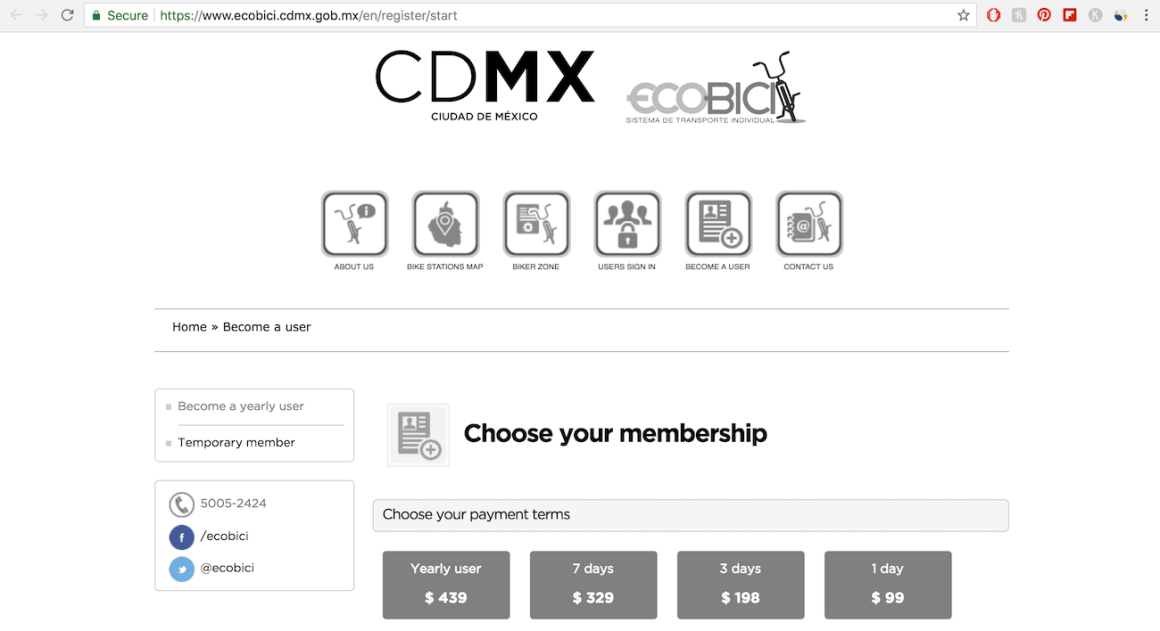 screenshot of the registration page for EcoBici Mexico City