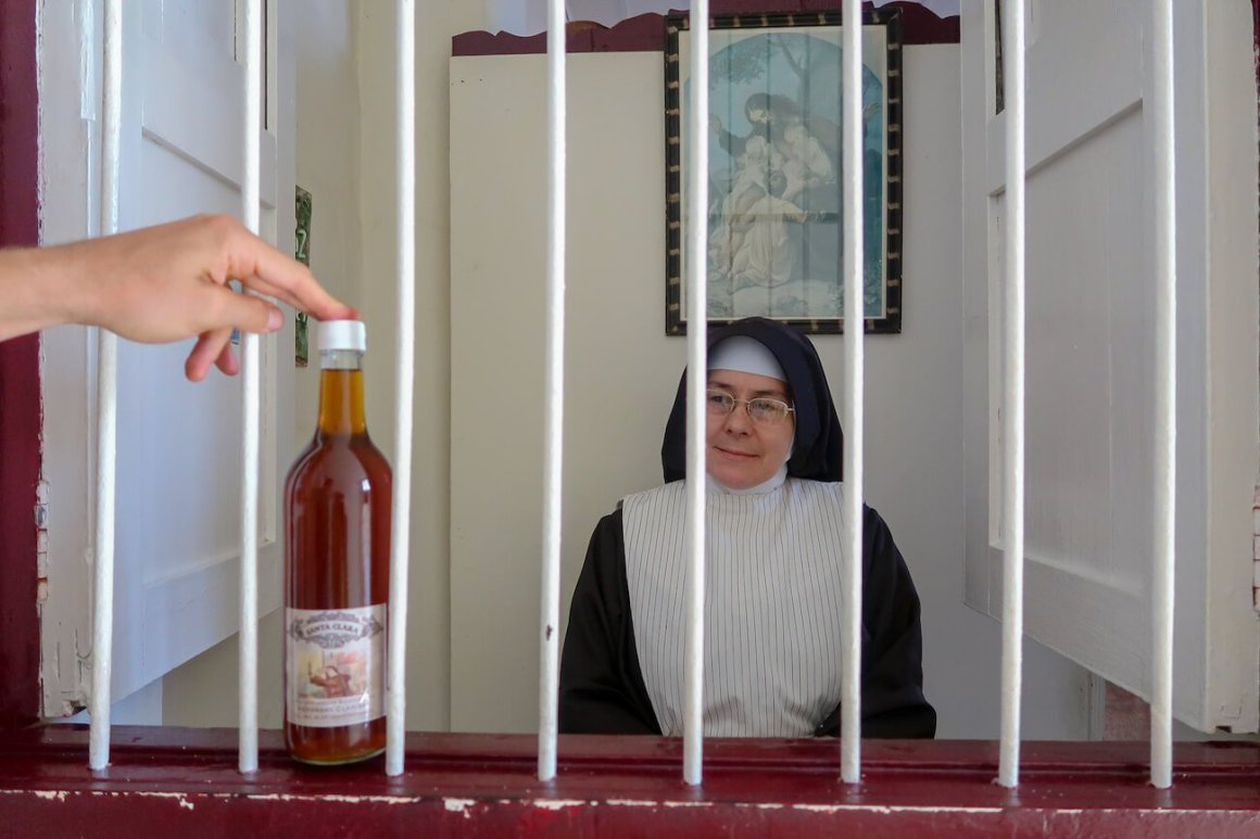 A bottle of wine and the nun who sold it to us.