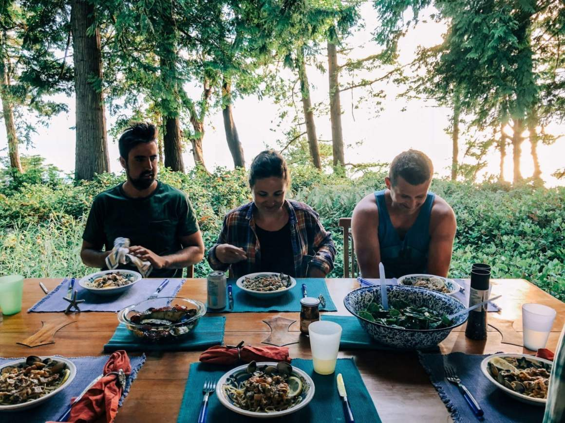 group eating meals together on savary island