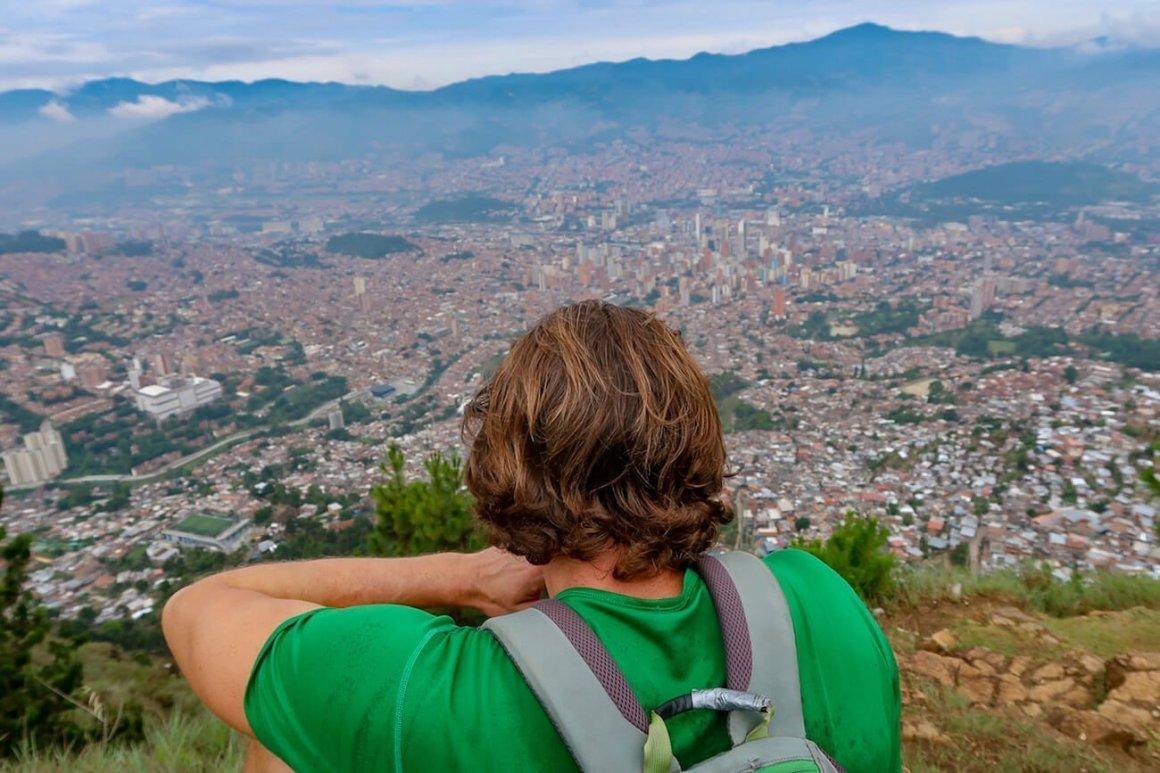 Chris looking down on Medellin from Cerro Pan de Azucar