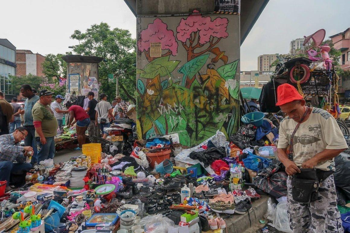 Flea market in downtown Medellin