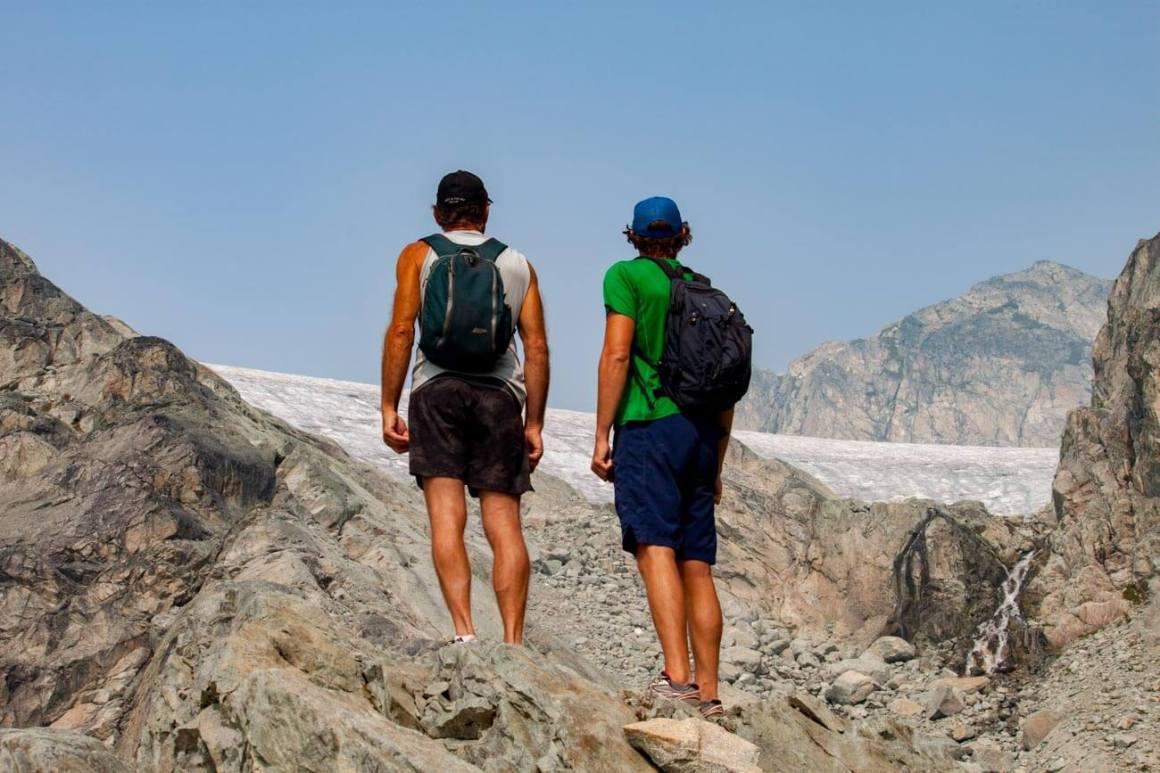 Chris and his dad looking at glacier and Brandywine peak