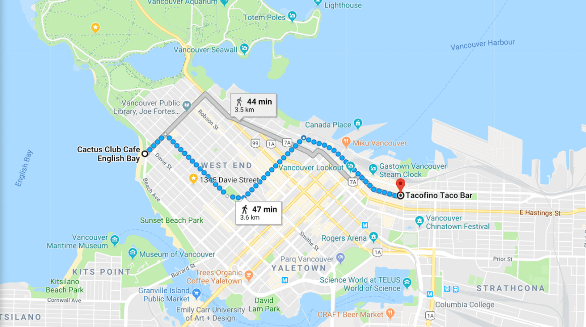 Google map of walking directions in downtown Vancouver