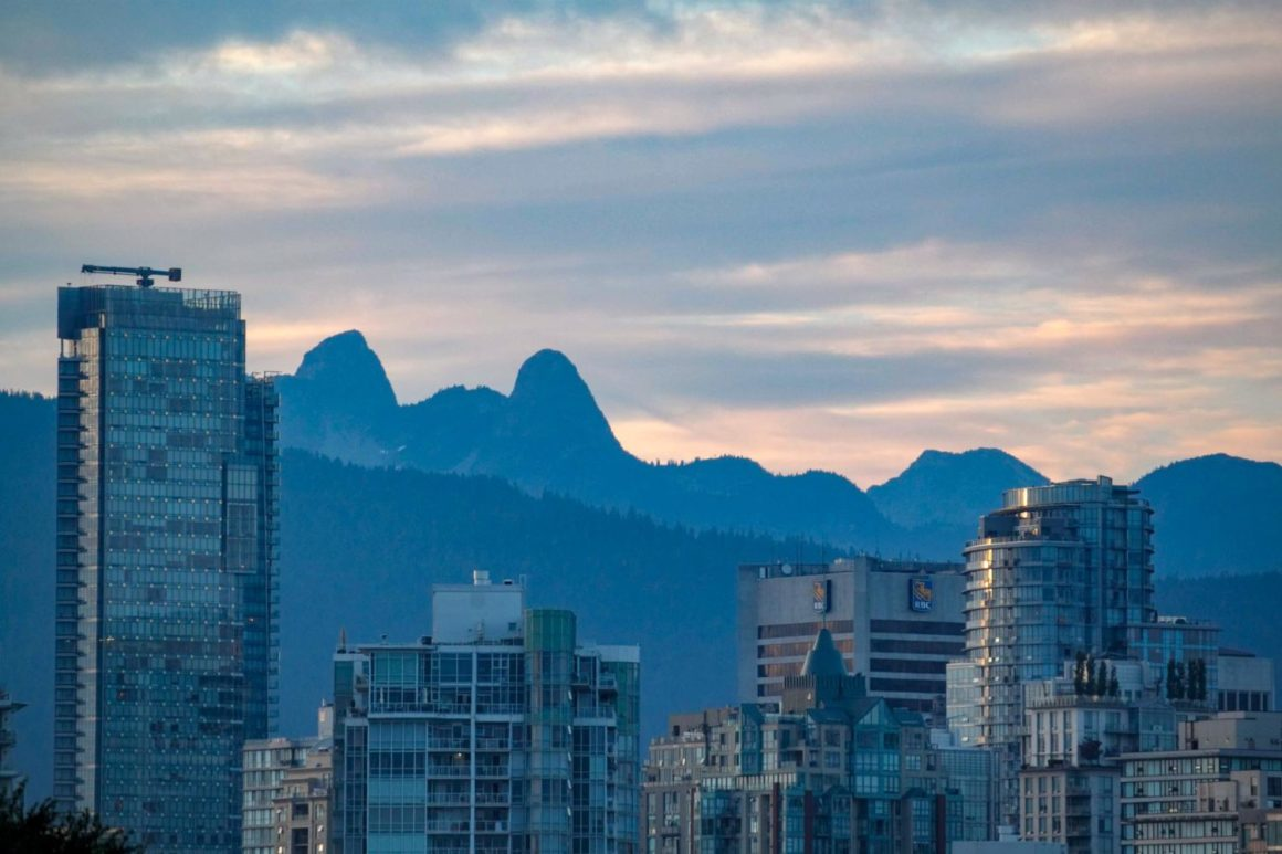 Vancouver mountains and buildings
