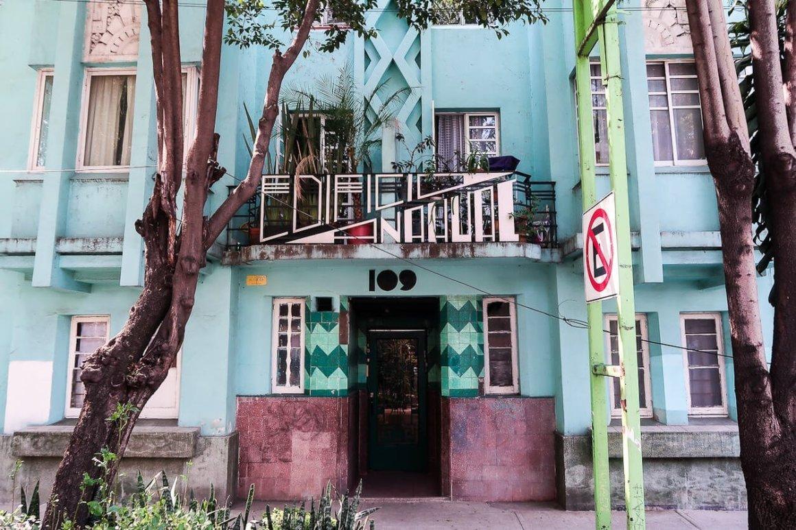 art deco blue building la roma mexico city