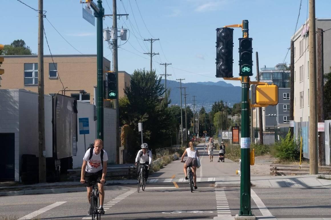 Arbutus Greenway bike lane with bike-specific traffic signals