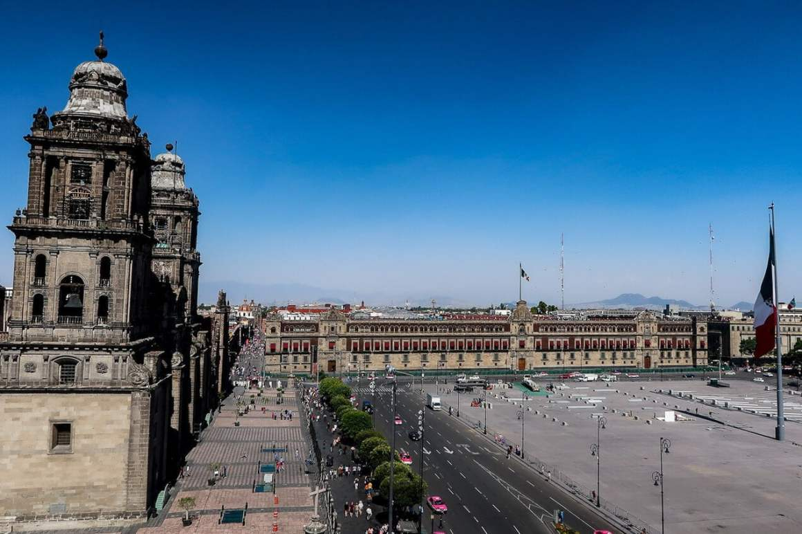 el zocalo from above in mexico city