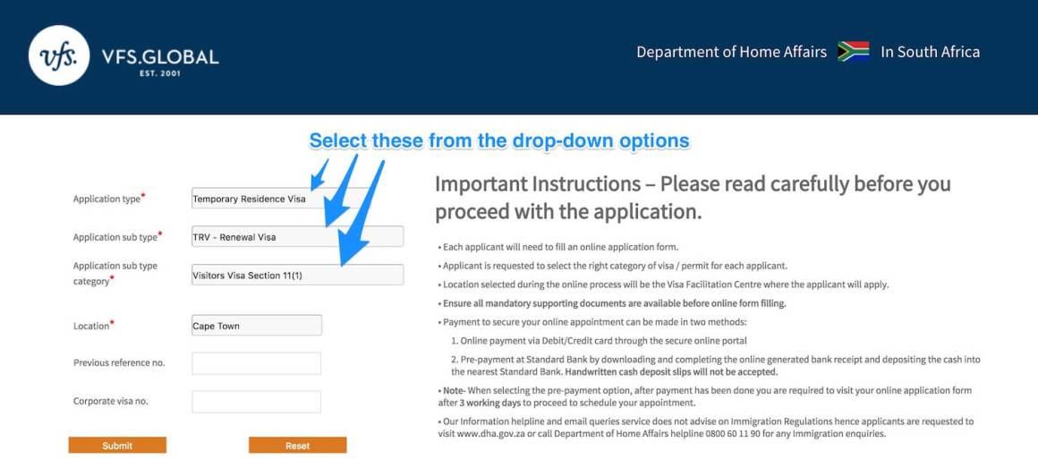 Screenshot of online South Africa tourist visa extension