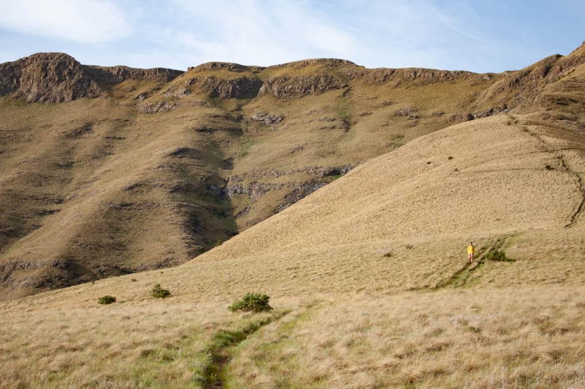 Kim hiking down Wodehouse Trail