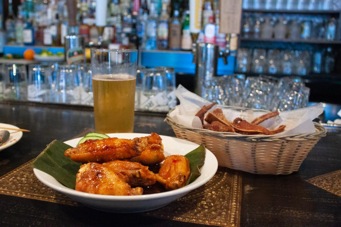 Food and beer from Thip Khao's happy hour