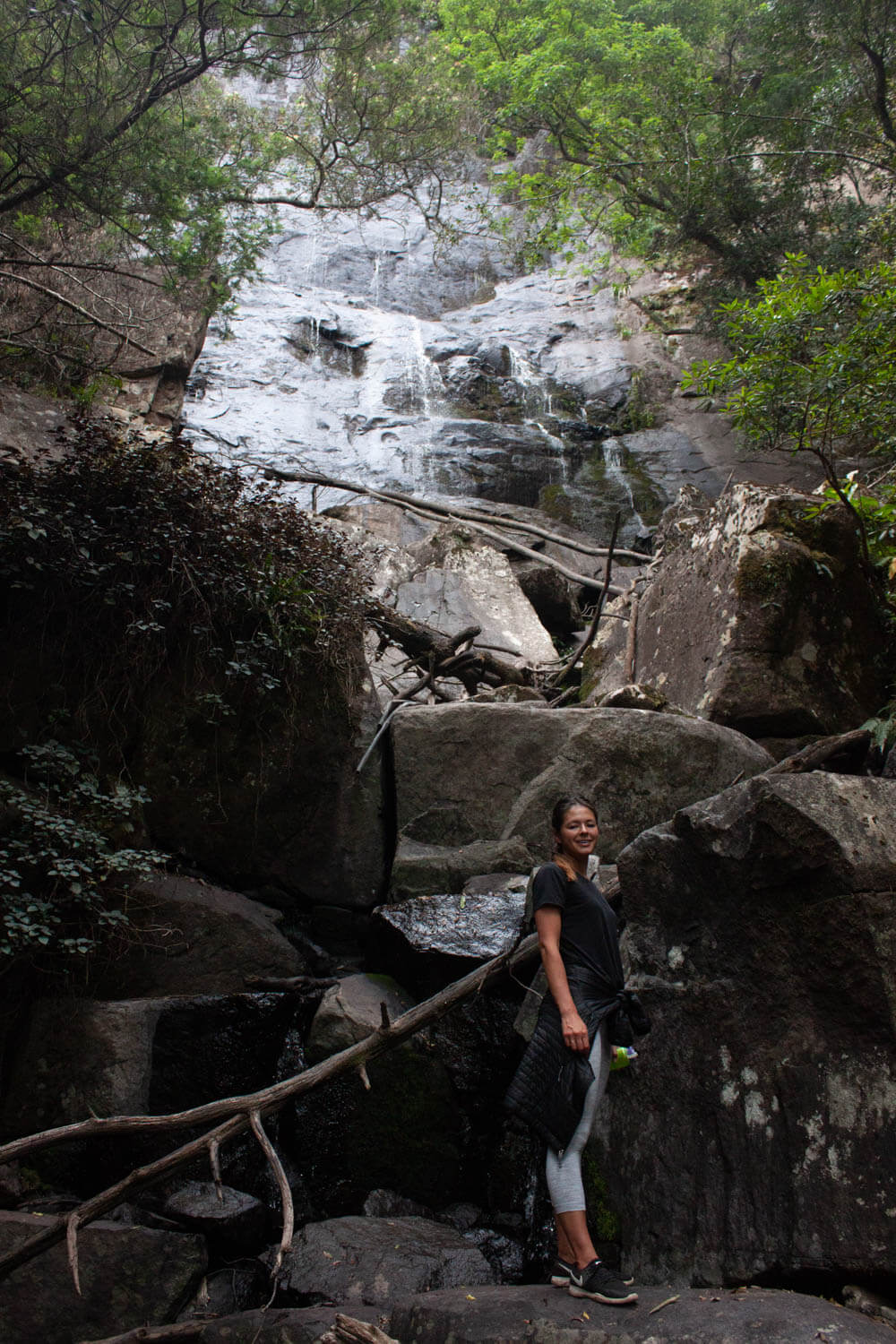 Kim below Bridal Falls in Hogsback