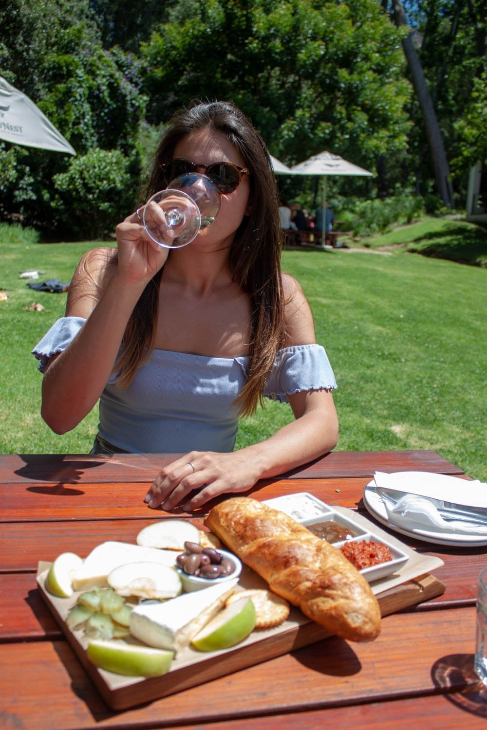 Cheese platter and drinking wine at Eagle's Nest Winery.