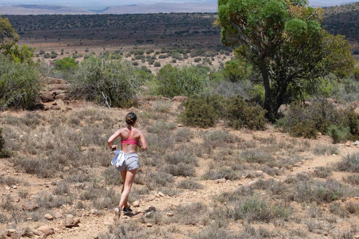 Kim jogging along Eerstefontein trail.