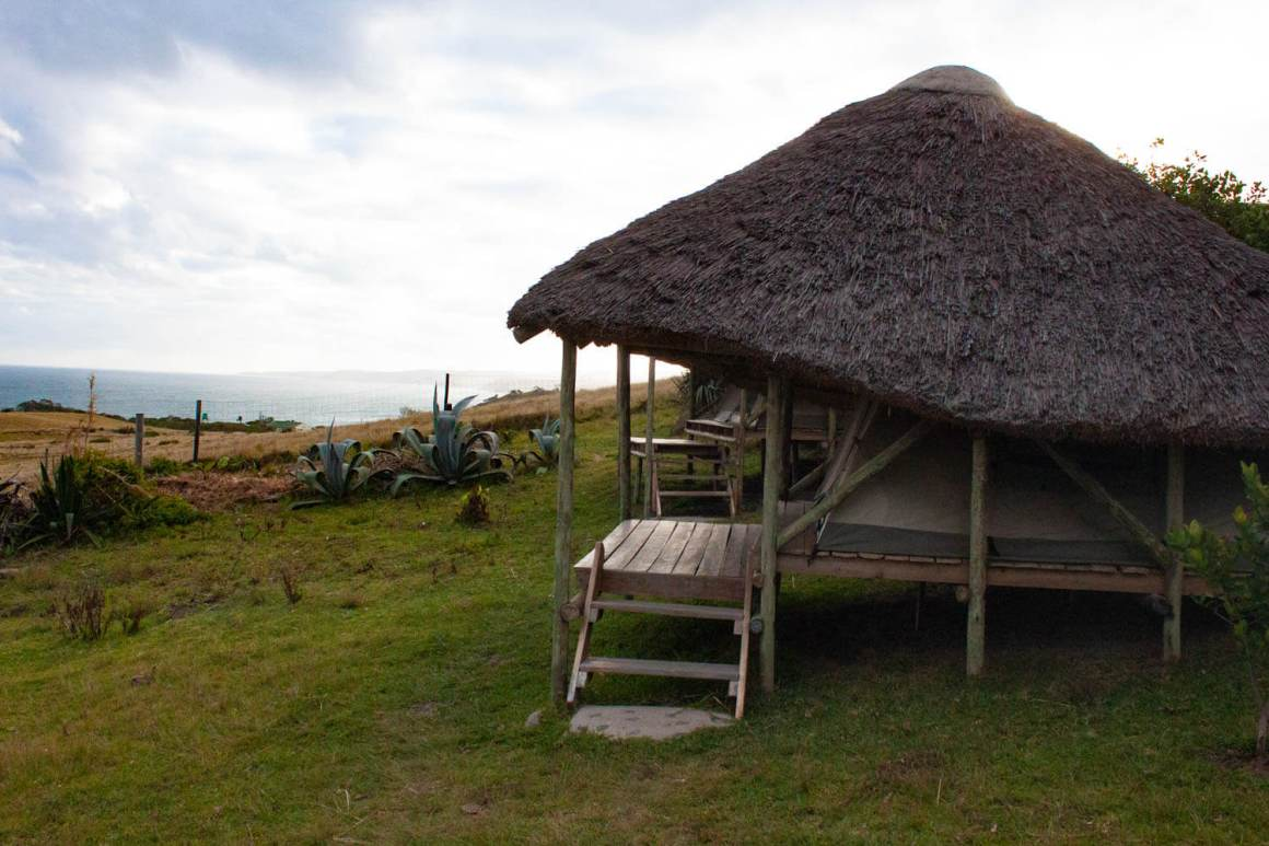 Safari tent at Mdumbi Backpackers with view
