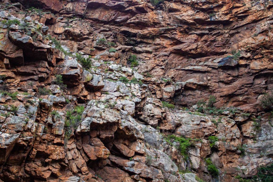 Close-up of crazy rock formations in Meiringspoort Pass