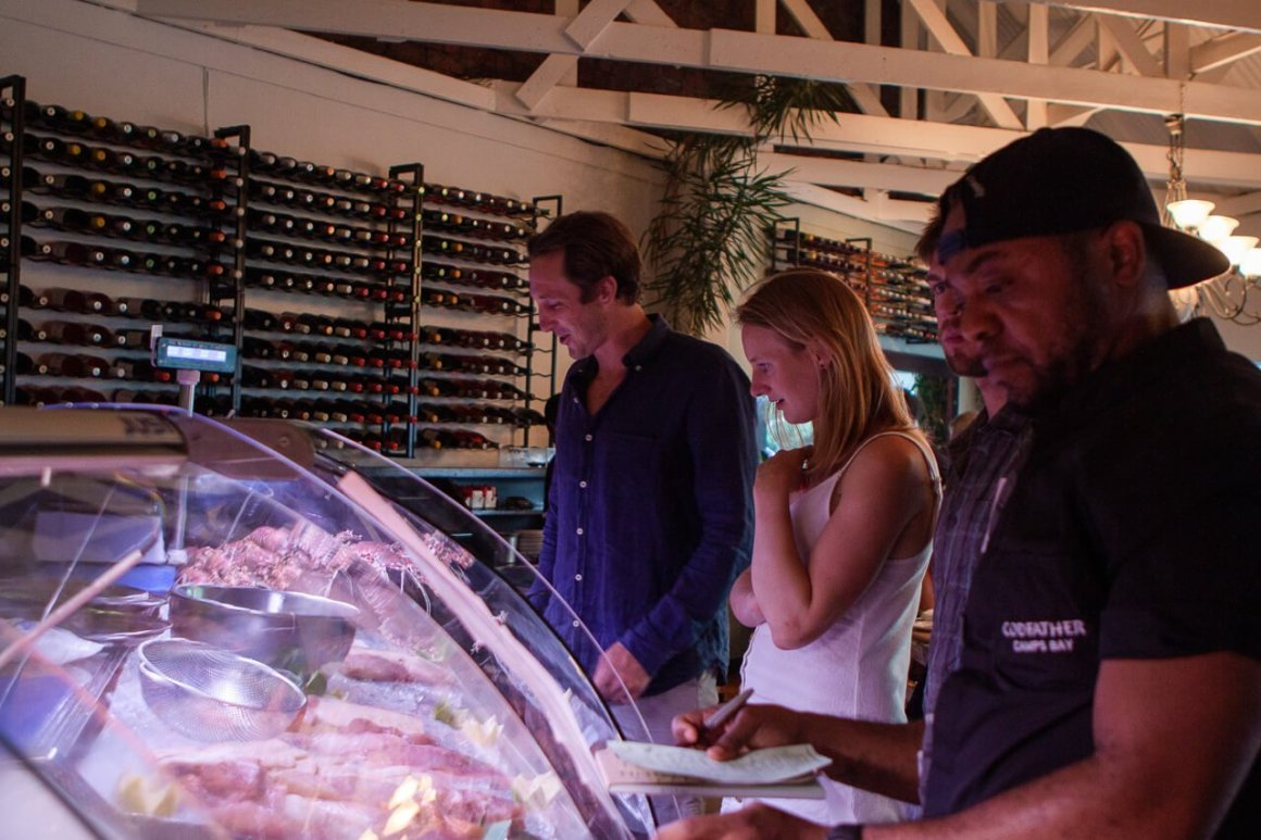 Fresh fish display at Codfather restaurant in Camps Bay, Cape Town.
