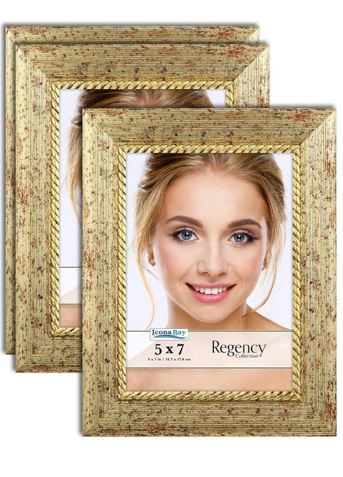 Three gold 5x7 frame with a photo of a blond haired, blue eyed woman