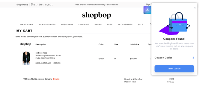 Screenshot of Shoptagr google chrome extension finding coupons to use for an online order.