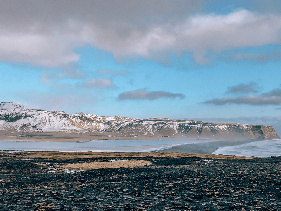 Dyrhólaey Nature Preserve black sand beach and water
