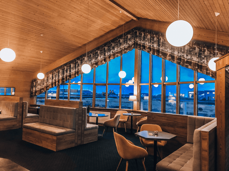 Icelandair Hotel Vik Lobby with large picture window and cafe