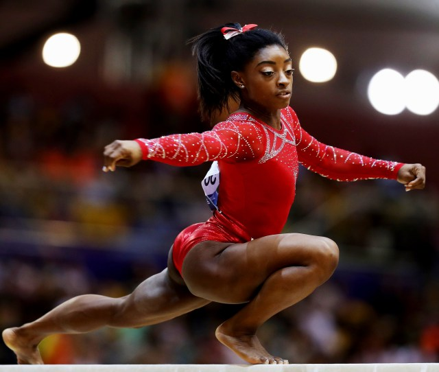 Biles Competed In The Balance Beam During Day  Of The  Fig Artistic Gymnastics Championships At Aspire Dome On Nov   In Doha Qatar