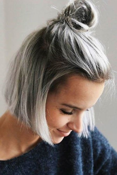 A-Small-Bun-on-Top New Cute Hairstyles for Short Hair