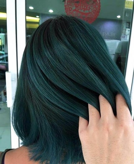 Black-Hair-Green-Highlights Balayage Ombre Short Hair