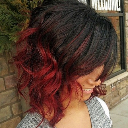Black-to-Red-Ombre-Short-Hair Short Red Hair Color Ideas