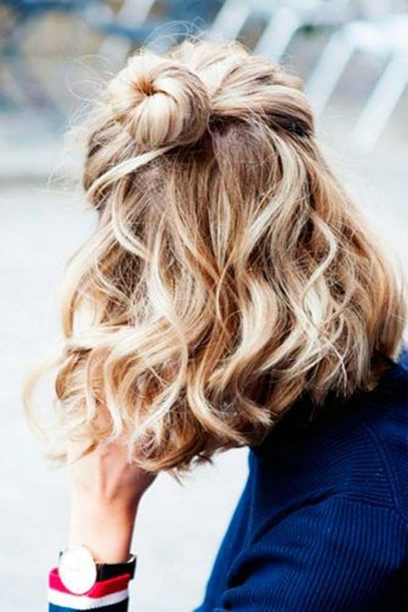 Blonde-Bun Short Trendy Hairstyles 2018