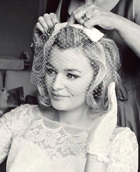 Blonde-Vintage-Cute-Curls Short Hair Wedding Styles