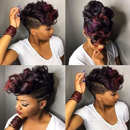 Bold-Look-with-Red-Highlights Best Hairstyles for Black Women 2018