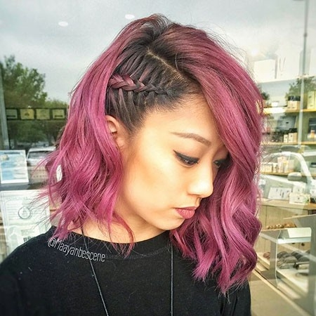 Braided-Pink-Hairstyle Easy Braids for Short Hair