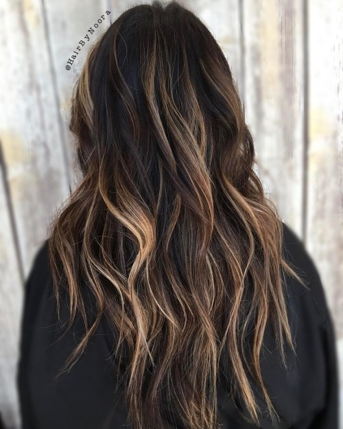 Brunette-Balayage-Hair-with-Shaggy-Layers Impressive Haircuts and Hairstyles for Long Dark Brown Hair