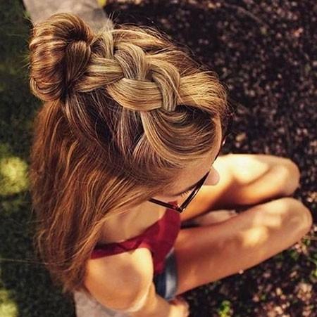 Bun-Hair New Cute Hairstyles for Short Hair