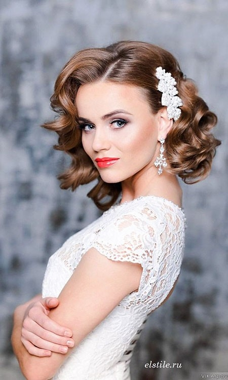 Curly-Hairtyle Wedding Hairstyles for Short Hair