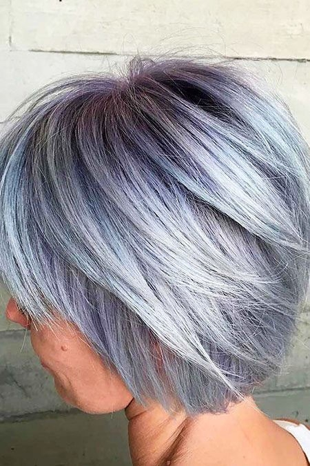 Cute-Grey-Hair New Short Layered Hairstyles 2018