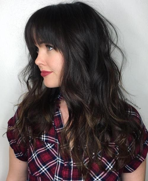 Dark-Chocolate-Balayage-Hairstyle-with-Bangs Impressive Haircuts and Hairstyles for Long Dark Brown Hair