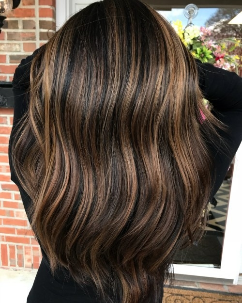 Dark-Mocha-Locks-with-Foilyage-Highlights Impressive Haircuts and Hairstyles for Long Dark Brown Hair