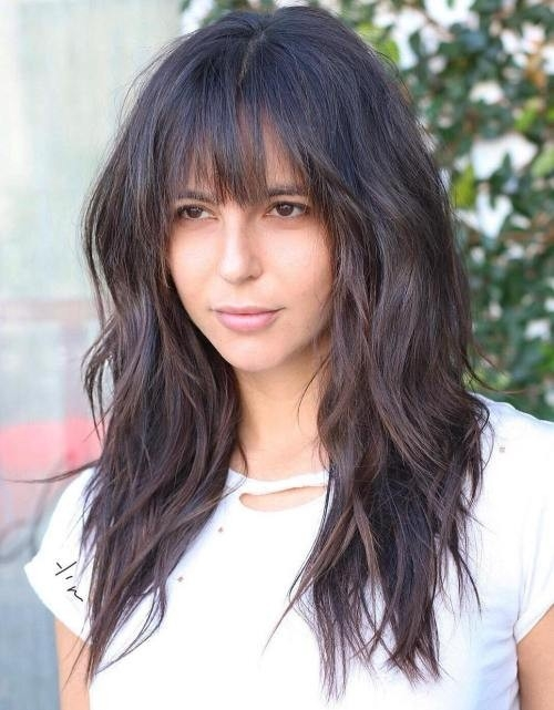 Long-Dark-Brown-Shag-with-Textured-Bangs Impressive Haircuts and Hairstyles for Long Dark Brown Hair