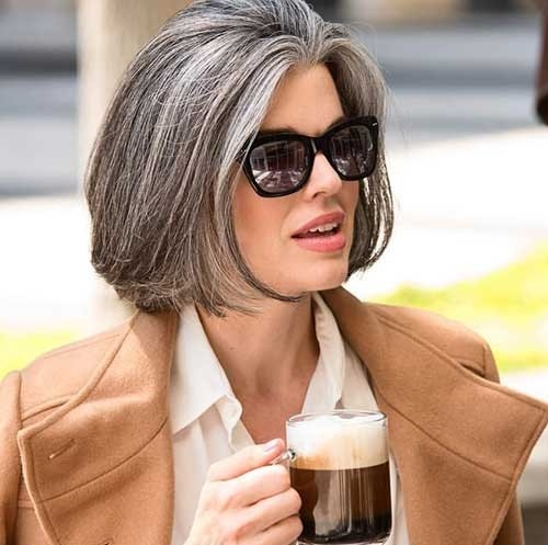 Natural-Silver-Bob-Hair Short Haircuts for Older Women 2018-2019