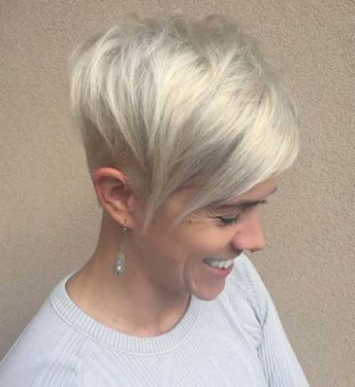 Pixie-with-Long-Bangs Blonde Short Hair Ideas for Ladies