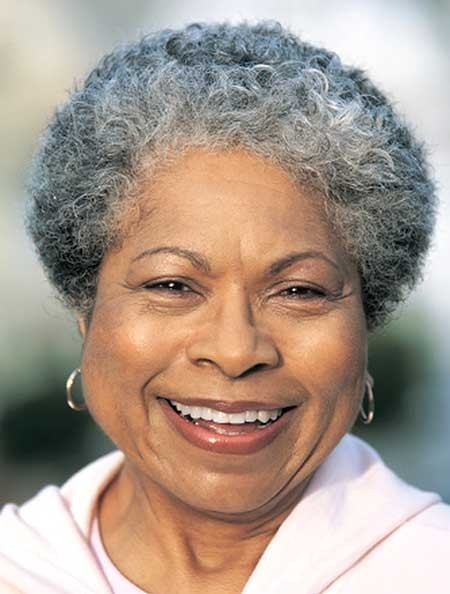 Short-African-Style-Gray-Colored-Haircut-for-Women Best Short Haircuts for Older Women