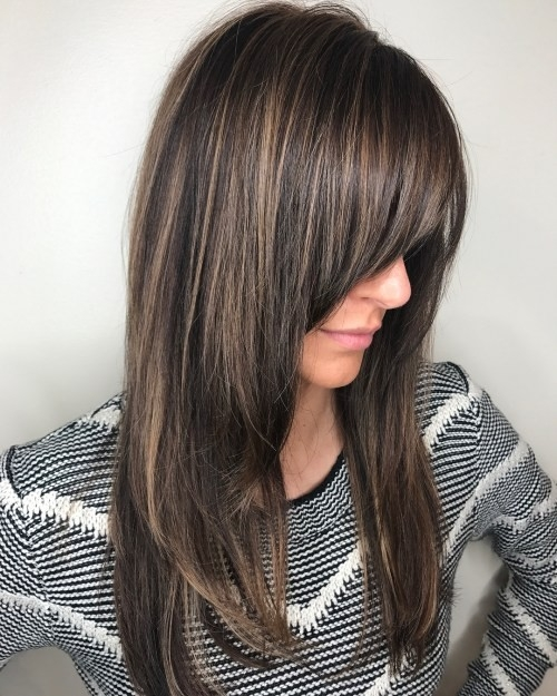 Straight-Hair-with-Highlights-and-Thick-Bangs Impressive Haircuts and Hairstyles for Long Dark Brown Hair