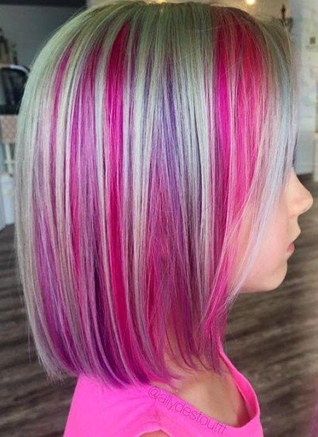 Two-Color-Hair Cute Short Haircuts for Girls