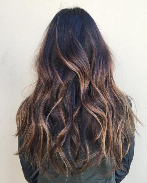Waist-Length-Hair-with-Caramel-Highlights Impressive Haircuts and Hairstyles for Long Dark Brown Hair