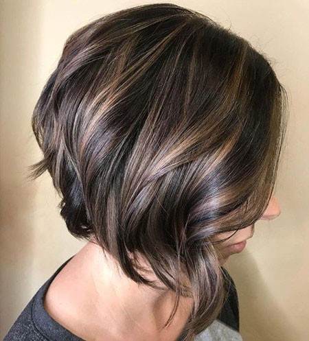 Angled-Bob-Haircut Popular Short Brunette Hairstyles