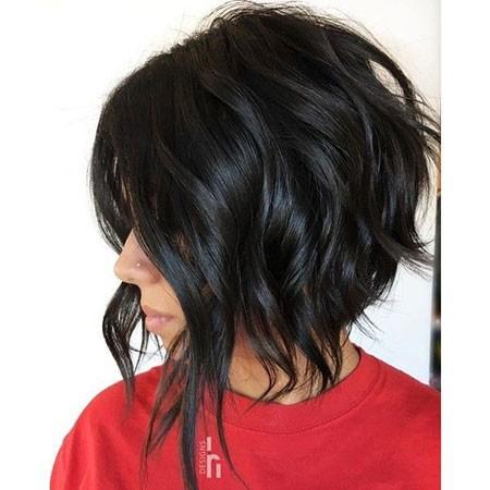Angled-Bob Short Hairstyles for Wavy Hair