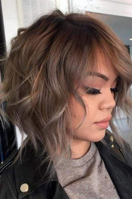 Ash-Brown-Hair-Color-Short-Hair Short Layered Wavy Hairstyles