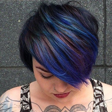 Blue-Pixie-Cut Short Hairstyles for Chubby Faces