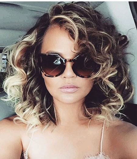 Brunette-Hair Hairstyles for Short Curly Hair